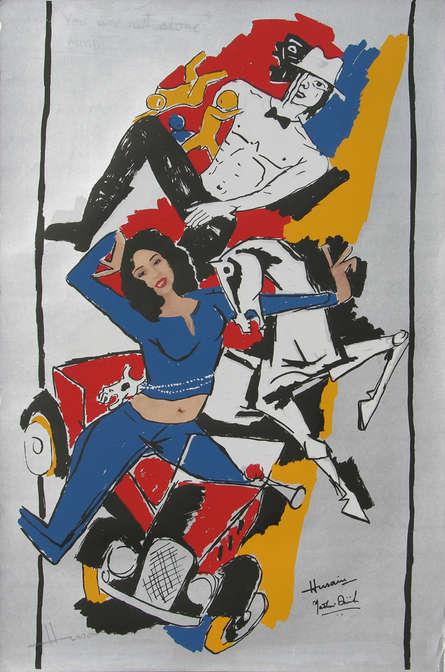 Figurative Serigraphs Art Painting title 'Yeh Kaun Sa Modh Hai Umar Ka 13' by artist M. F. Husain