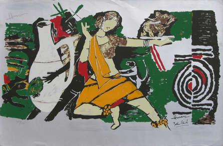 Figurative Serigraphs Art Painting title 'Yeh Kaun Sa Modh Hai Umar Ka 8' by artist M. F. Husain