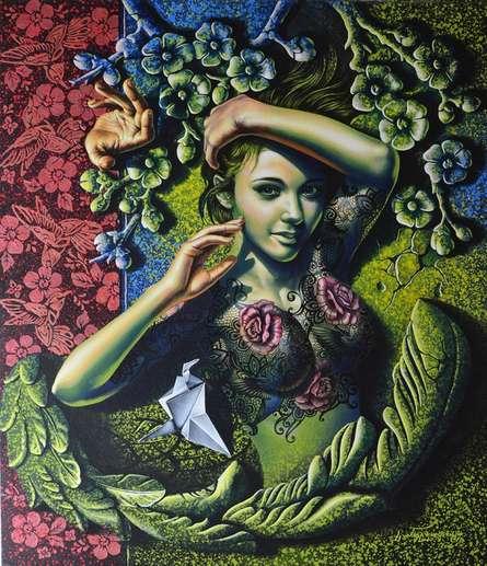 Figurative Acrylic Art Painting title Beauty by artist Prashanta Nayak