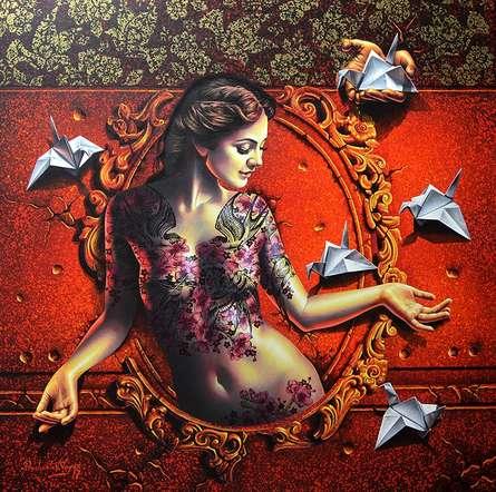 Figurative Acrylic Art Painting title 'Mirror Lady 1' by artist Prashanta Nayak