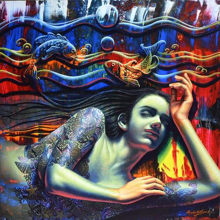 Figurative Acrylic Art Painting title Peace by artist Prashanta Nayak