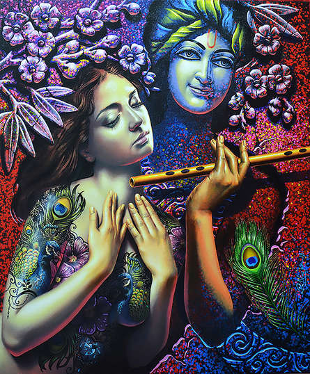 Religious Acrylic Art Painting title Radha Krishna 1 by artist Prashanta Nayak