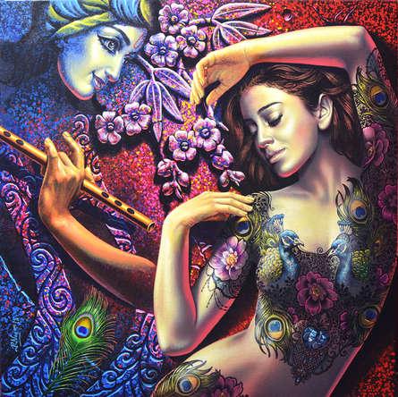 Religious Acrylic Art Painting title 'Radha Krishna 2' by artist Prashanta Nayak