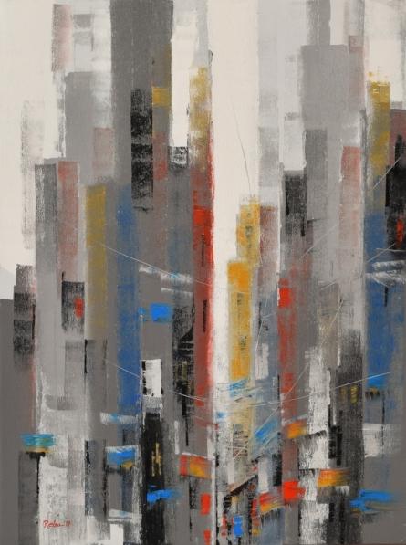 Cityscape 4   Painting by artist Reba Mandal   acrylic   Canvas