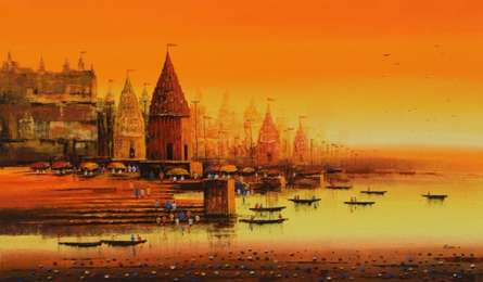 Cityscape Acrylic Art Painting title 'Ganga Ghat 11' by artist Reba Mandal