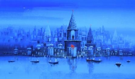 Cityscape Acrylic Art Painting title 'Ganga Ghat 12' by artist Reba Mandal