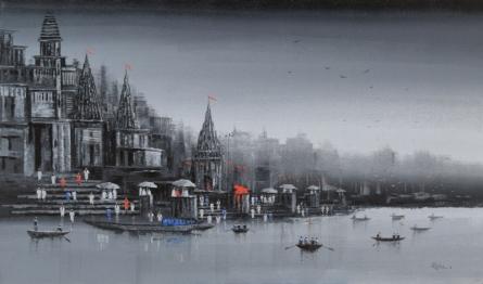 Cityscape Acrylic Art Painting title 'Ganga Ghat 13' by artist Reba Mandal