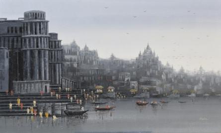 Cityscape Acrylic Art Painting title 'Ganga Ghat 14' by artist Reba Mandal