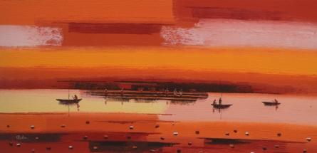 Reba Mandal Paintings | Acrylic Painting title Abstract Landscape 2 by artist Reba Mandal | ArtZolo.com