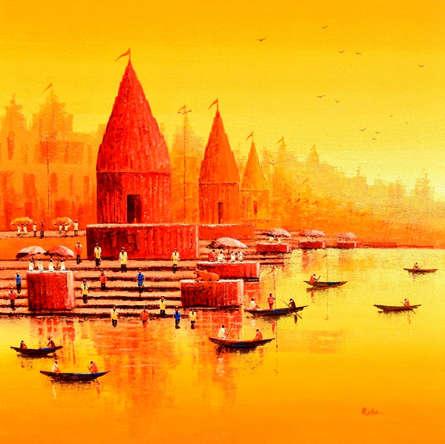 Reba Mandal Paintings | Acrylic Painting - Banaras Ghat 14 by artist Reba Mandal | ArtZolo.com