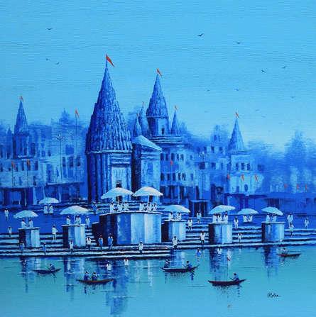 Cityscape Acrylic Art Painting title 'Banaras Ghat 15' by artist Reba Mandal