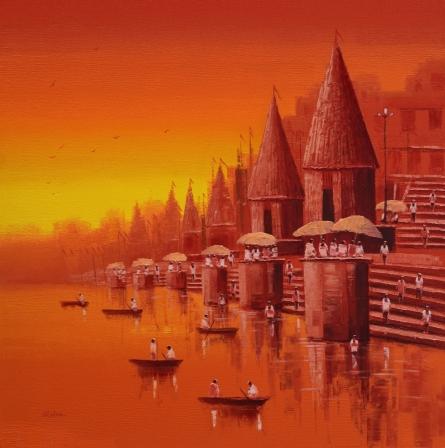 Cityscape Oil Art Painting title 'Banaras Ghat 17' by artist Reba Mandal