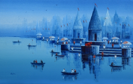 Reba Mandal | Oil Painting title Banaras Ghat 19 on Canvas | Artist Reba Mandal Gallery | ArtZolo.com