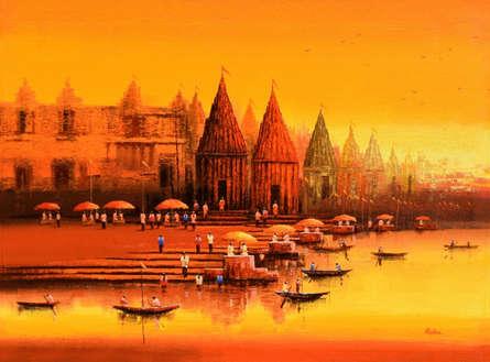 Reba Mandal | Acrylic Painting title Banaras Ghat 20 on Canvas | Artist Reba Mandal Gallery | ArtZolo.com