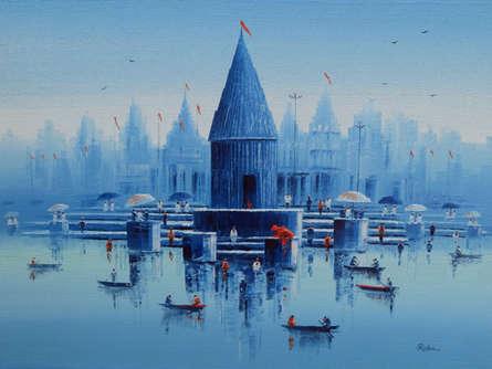 Cityscape Oil Art Painting title 'Banaras Ghat 21' by artist Reba Mandal
