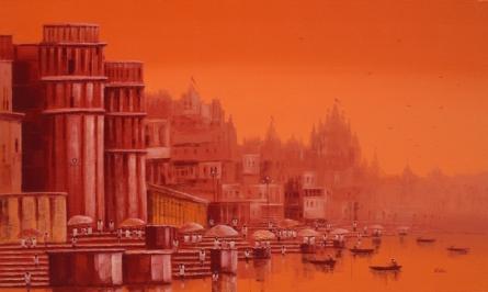 Cityscape Oil Art Painting title 'Banaras Ghat 25' by artist Reba Mandal