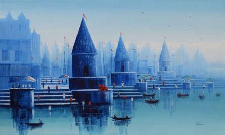 Cityscape Oil Art Painting title 'Banaras Ghat 26' by artist Reba Mandal