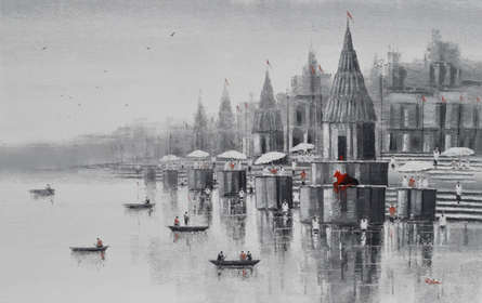 Cityscape Acrylic Art Painting title 'Banaras Ghat 31' by artist Reba Mandal