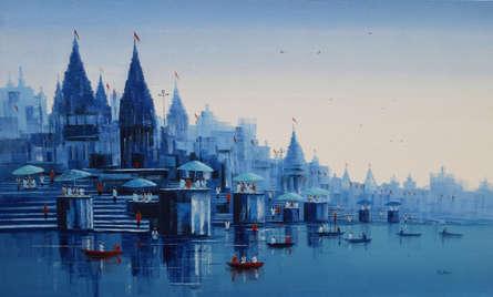 Cityscape Acrylic Art Painting title Banaras Ghat 32 by artist Reba Mandal