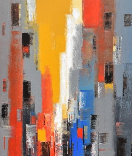 Cityscape 2 | Painting by artist Reba Mandal | acrylic | Canvas