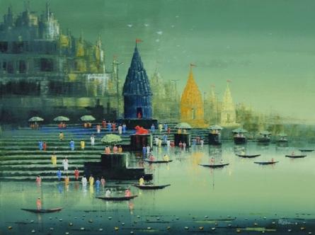 Cityscape Acrylic Art Painting title Ganga Ghat 10 by artist Reba Mandal
