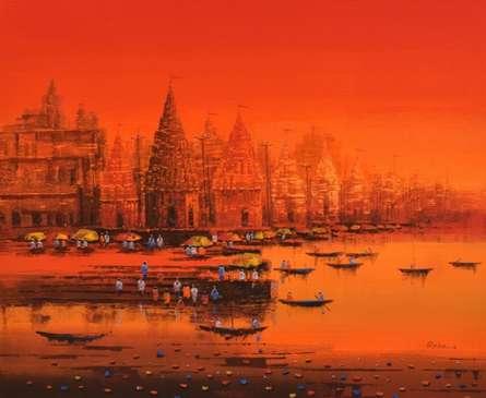 Cityscape Acrylic Art Painting title Ganga Ghat 3 by artist Reba Mandal