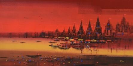 Cityscape Acrylic Art Painting title 'Ganga Ghat 4' by artist Reba Mandal