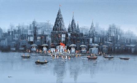 Cityscape Acrylic Art Painting title Ganga Ghat 5 by artist Reba Mandal