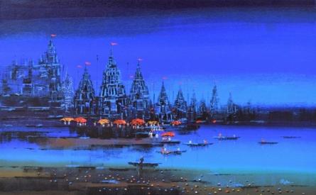 Cityscape Acrylic Art Painting title Ganga Ghat 6 by artist Reba Mandal