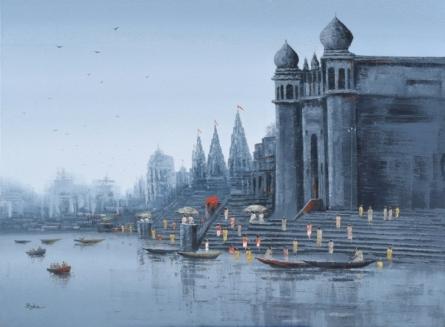 Cityscape Acrylic Art Painting title 'Ganga Ghat 7' by artist Reba Mandal