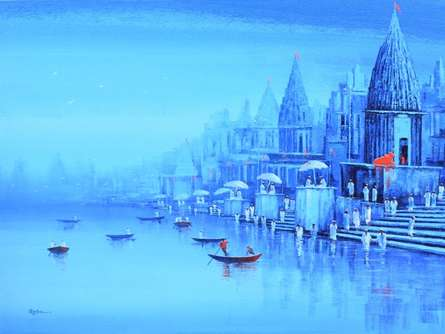 Cityscape Acrylic Art Painting title 'Ganga Ghat 8' by artist Reba Mandal