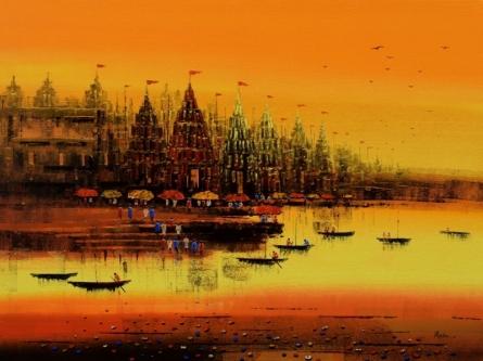 Cityscape Acrylic Art Painting title Ganga Ghat 9 by artist Reba Mandal