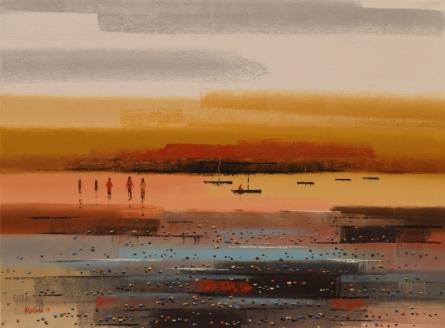 Landscape Acrylic Art Painting title 'Landscape 3' by artist Reba Mandal