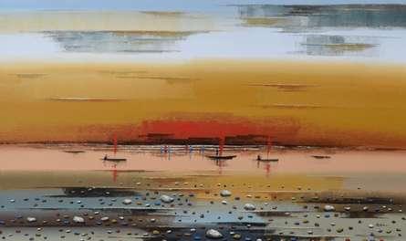 Landscape Acrylic Art Painting title 'Landscape 5' by artist Reba Mandal