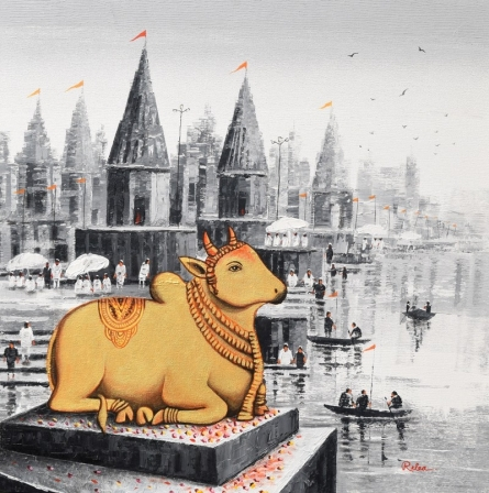 Cityscape Acrylic Art Painting title Lord Nandi At Banaras Ghat 1 by artist Reba Mandal