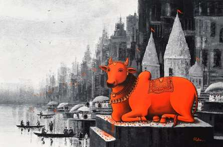 Religious Acrylic Art Painting title Lord Nandi At Banaras Ghat 4 by artist Reba Mandal