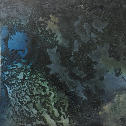 Abstract Mixed-media Art Painting title 'Night Ocean III' by artist Vernika Singh