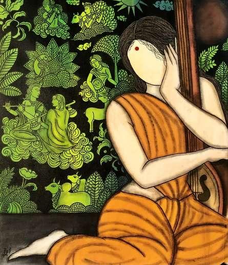 contemporary Acrylic Art Painting title Bhakti Krishna series by artist Mrinal Dutt