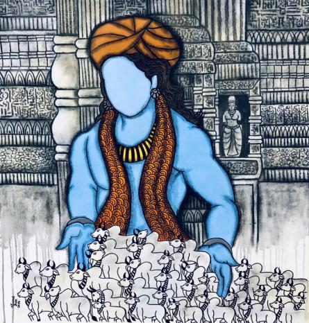contemporary Acrylic-charcoal Art Painting title Bal Gopal by artist Mrinal Dutt
