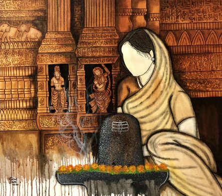 contemporary Acrylic Art Painting title Shivam by artist Mrinal Dutt
