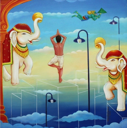 Anand Kumar | Acrylic Painting title The World Of Spirituality on Canvas | Artist Anand Kumar Gallery | ArtZolo.com