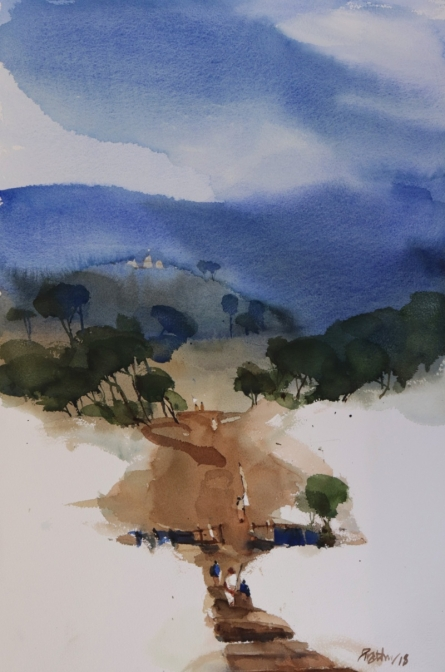 Landscape Watercolor Art Painting title 'Beyond All Rise And Fall 22x15' by artist Prashant Prabhu