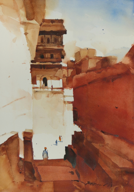 Landscape Watercolor Art Painting title 'Composing Red Keeping It On The Right' by artist Prashant Prabhu