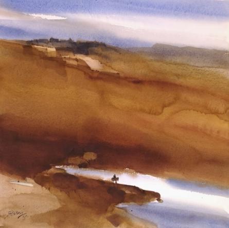 Landscape Watercolor Art Painting title 'Exit Or Exile' by artist Prashant Prabhu