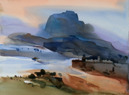 Landscape Watercolor Art Painting title 'Historical Blues 22x30' by artist Prashant Prabhu