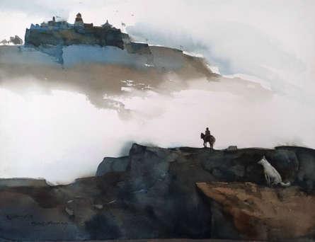 Landscape Watercolor Art Painting title 'Homecoming Before Winter Falls' by artist Prashant Prabhu