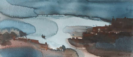 Prashant Prabhu | Watercolor Painting title Safe passage via friendly landscape 2 on Paper | Artist Prashant Prabhu Gallery | ArtZolo.com