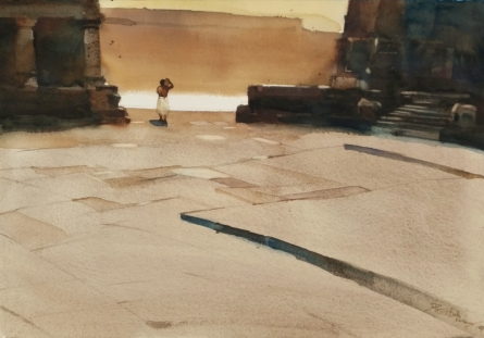 Landscape Watercolor Art Painting title In Devotion You Are Alone by artist Prashant Prabhu