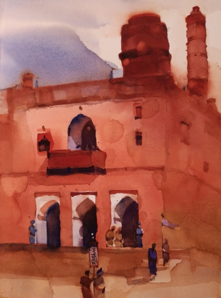 Landscape Watercolor Art Painting title 'Landing At The Kings 4' by artist Prashant Prabhu