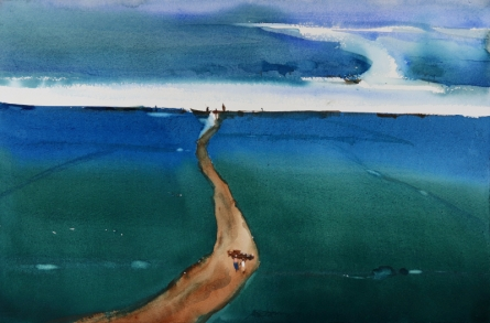Seascape Watercolor Art Painting title 'Landscape Feels Abstraction Blues' by artist Prashant Prabhu